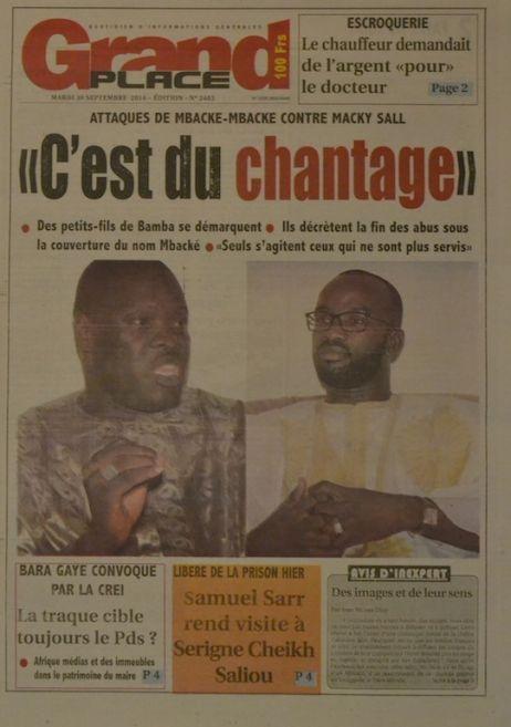 A la Une du Journal Grand Place du jeudi 02 octobre 2014