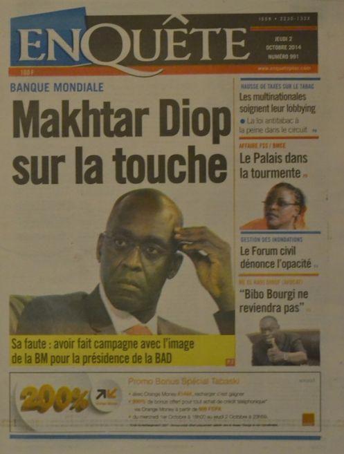 A la Une du Journal EnQuête du jeudi 02 octobre 2014