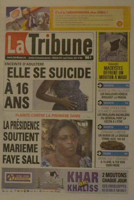 A la Une du Journal La Tribune du jeudi 02 octobre 2014