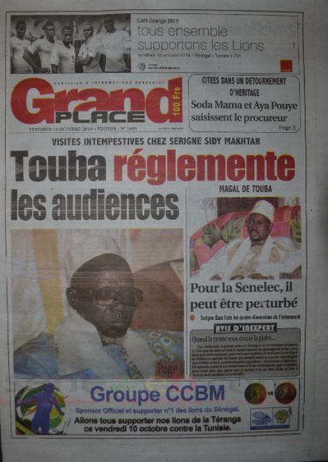 A la Une du Journal Grand Place du vendredi 10 octobre 2014
