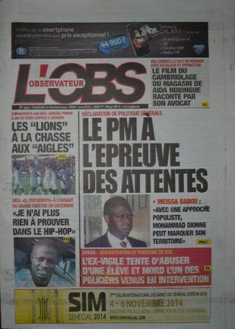 A la Une du Journal L'Observateur du vendredi 10 octobre 2014