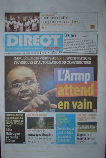 A la Une du Journal Direct Info du vendredi 10 octobre 2014