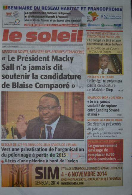 A la Une du Journal Le Soleil du lundi 13 octobre 2014