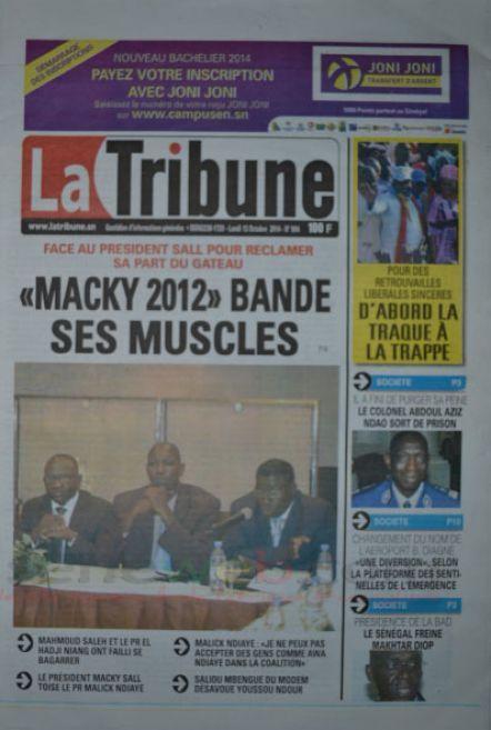 A la Une du Journal La Tribune du lundi 13 octobre 2014