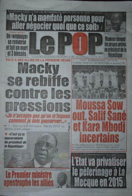 A la Une du Journal Le Populaire du lundi 13 octobre 2014