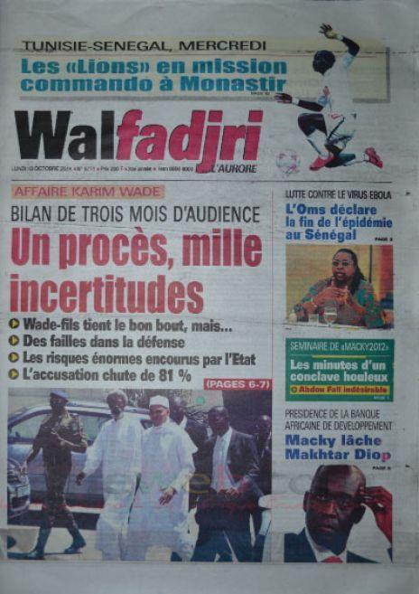 A la Une du Journal Walfadjri du lundi 13 octobre 2014