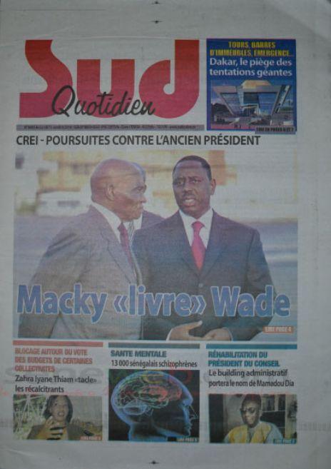 A la Une du Journal Le Sud Quotidien du lundi 13 octobre 2014
