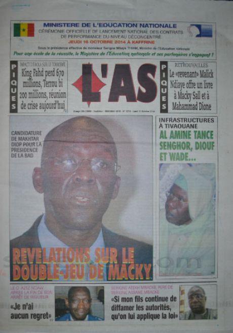 A la Une du Journal L'As du lundi 13 octobre 2014