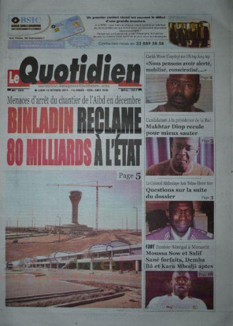 A la Une du Journal Le Quotidien du lundi 13 octobre 2014