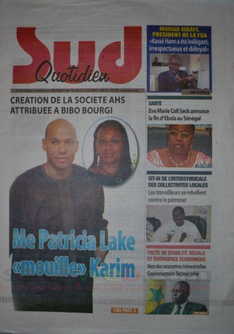 A la Une du Journal Sud Quotidien du mardi 14 octobre 2014