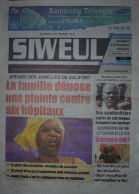 A la Une du Journal Siweul du mardi 14 octobre 2014