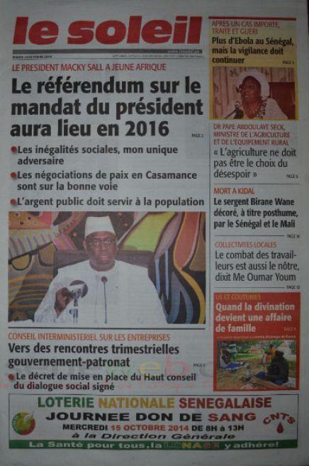 A la Une du Journal Le Soleil du mardi 14 octobre 2014