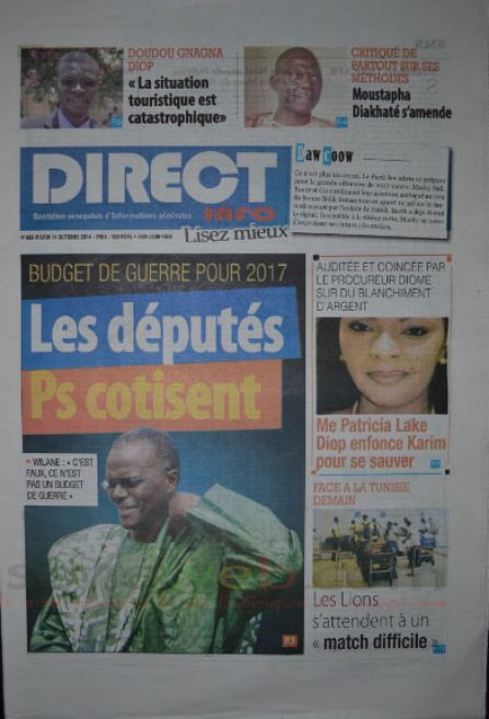 A la Une du Journal Direct Info du mardi 14 octobre 2014