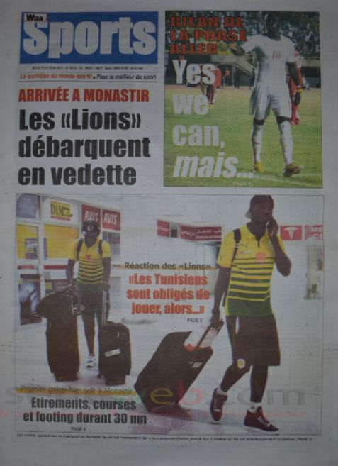 A la Une du Journal Waa Sports du mardi 14 octobre 2014