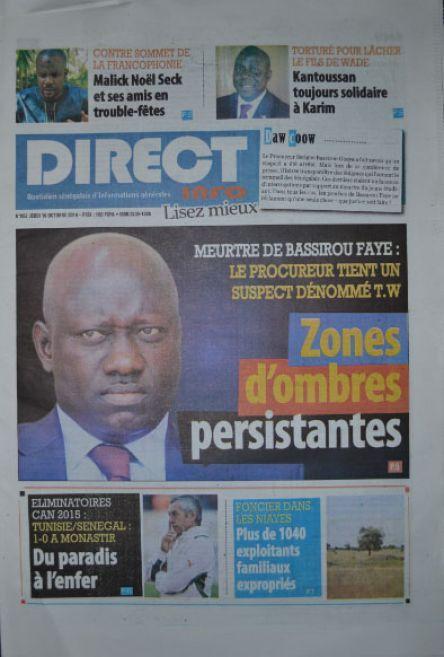 A la Une du Journal Direct Info du jeudi 16 octobre 2014