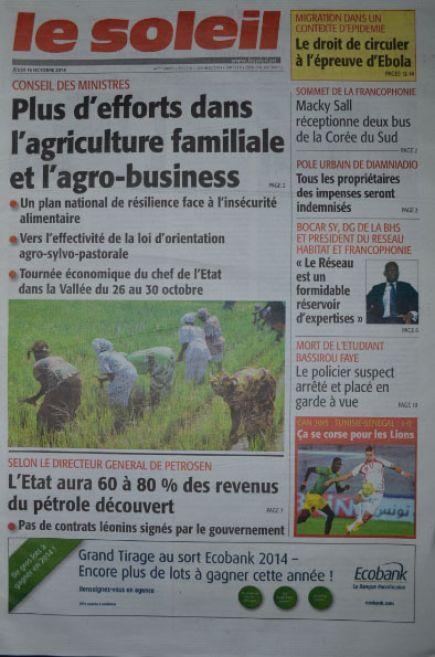 A la Une du Journal Le Soleil du jeudi 16 octobre 2014