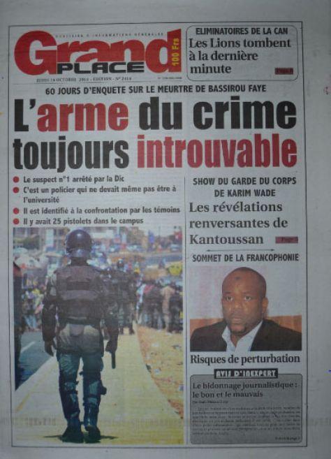 A la Une du Journal Grand Place du jeudi 16 octobre 2014