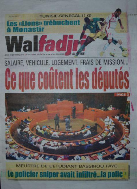 A la Une du Journal Walfadjri du jeudi 16 octobre 2014
