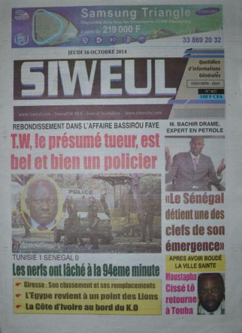 A la Une du Journal Siweul du jeudi 16 octobre 2014