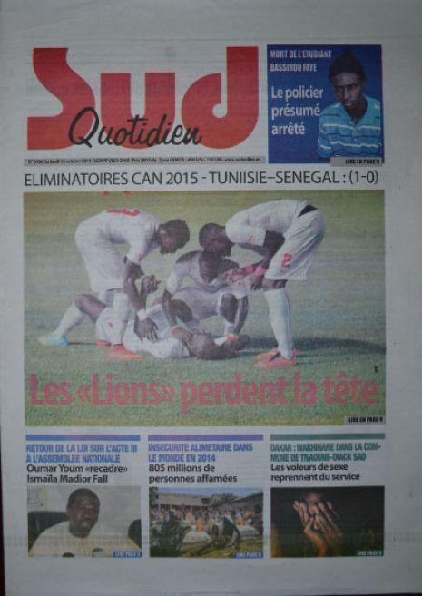 A la Une du Journal Sud Quotidien du jeudi 16 octobre 2014