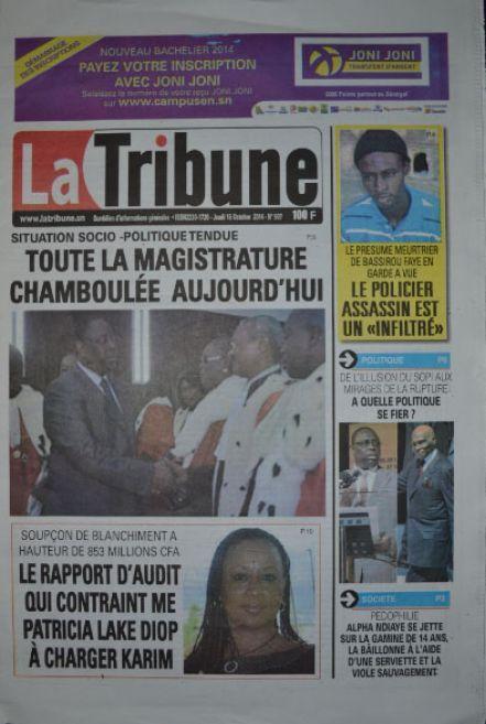 A la Une du Journal La Tribune du jeudi 16 octobre 2014