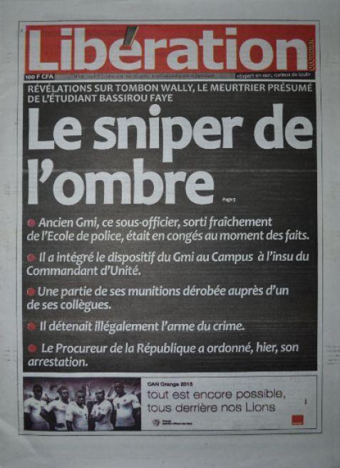 A la Une du Journal Libération du jeudi 16 octobre 2014