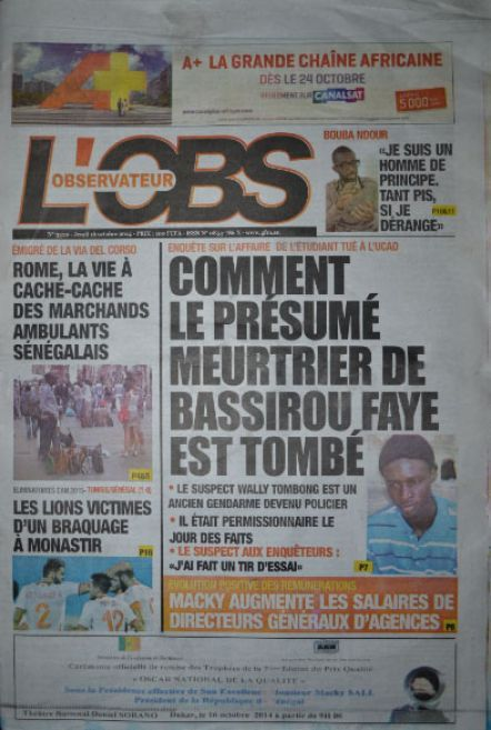A la Une du Journal L'Observateur du jeudi 16 octobre 2014
