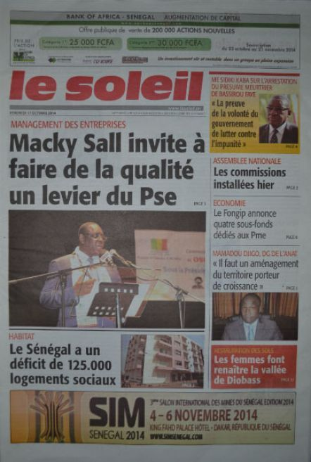 A la Une du Journal Le Soleil du vendredi 17 octobre 2014