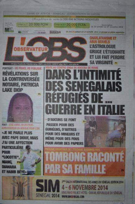 A la Une du Journal L'Observateur du vendredi 17 octobre 2014