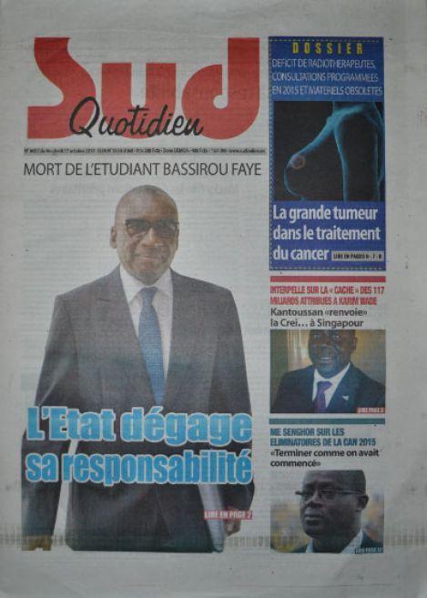 A la Une du Journal Sud Quotidien du vendredi 17 octobre 2014