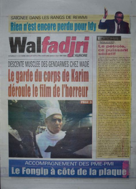 A la Une du Journal Walfadjri du vendredi 17 octobre 2014