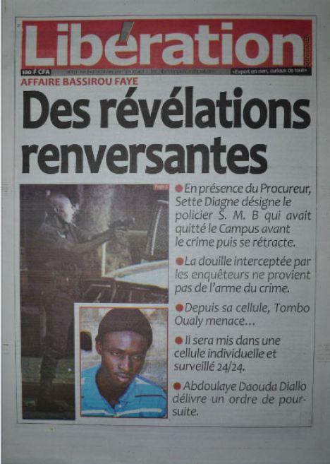 A la Une du Journal Libération du vendredi 17 octobre 2014