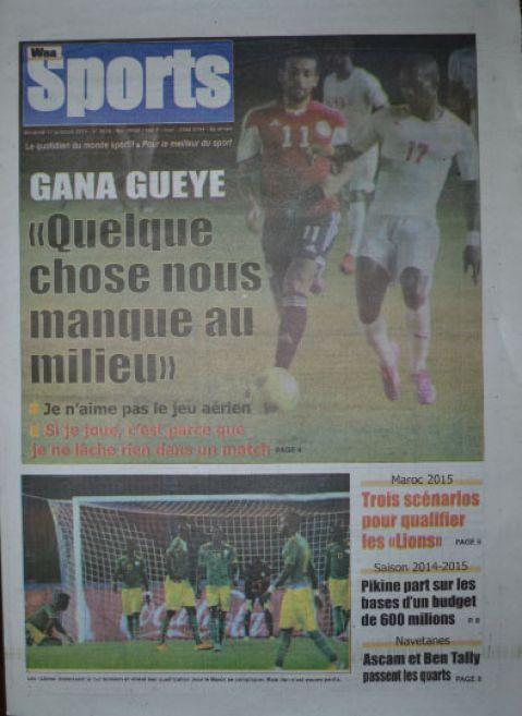 A la Une du Journal Waa Sports du vendredi 17 octobre 2014