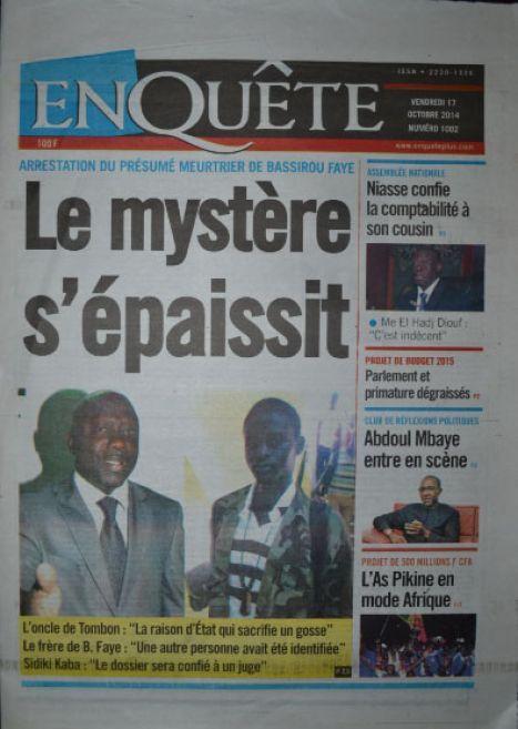 A la Une du Journal EnQuête du vendredi 17 octobre 2014