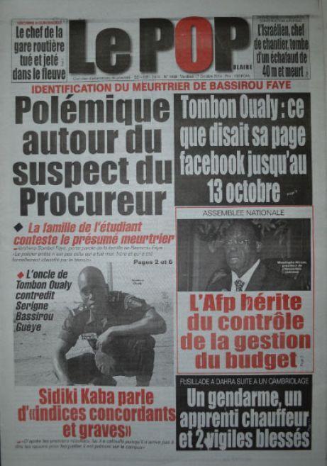 A la Une du Journal Le Populaire du vendredi 17 octobre 2014