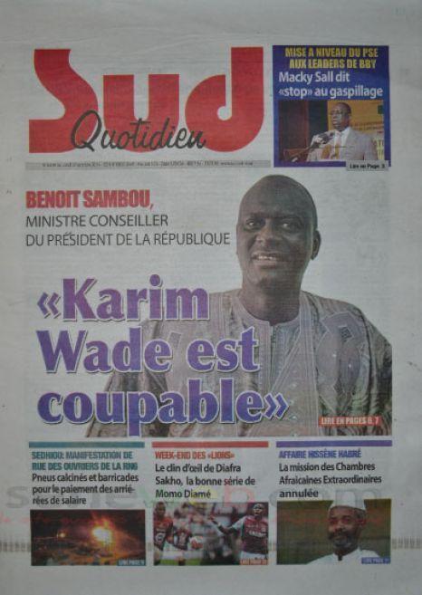 A la Une du Journal Sud Quotidien du lundi 20 octobre 2014