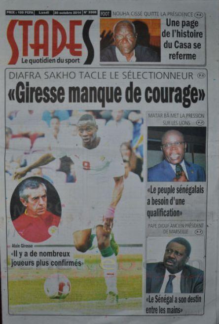 A la Une du Journal Stades du lundi 20 octobre 2014