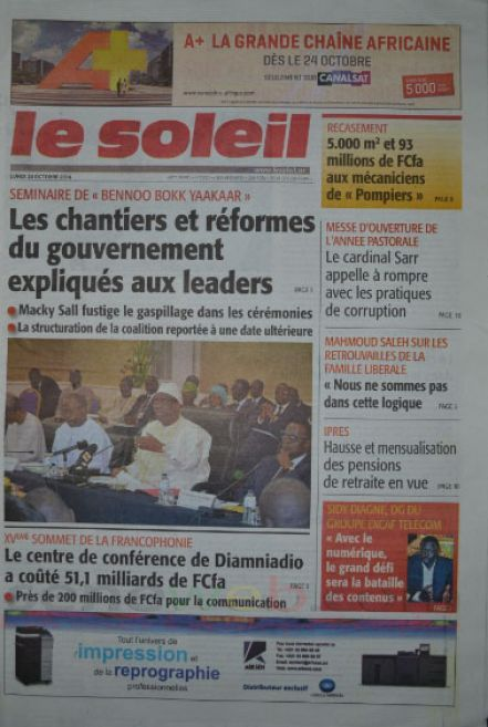 A la Une du Journal Le Soleil du lundi 20 octobre 2014