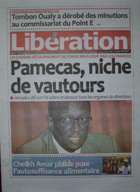 A la Une du Journal Libération du lundi 20 octobre 2014