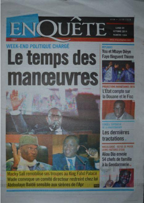 A la Une du Journal EnQuête du lundi 20 octobre 2014