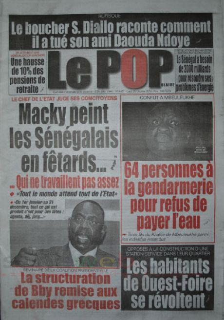 A la Une du Journal Le Populaire du lundi 20 octobre 2014