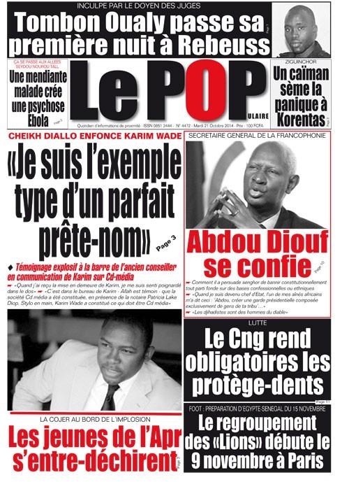 A la Une du Journal Le Populaire du mardi 21 octobre 2014