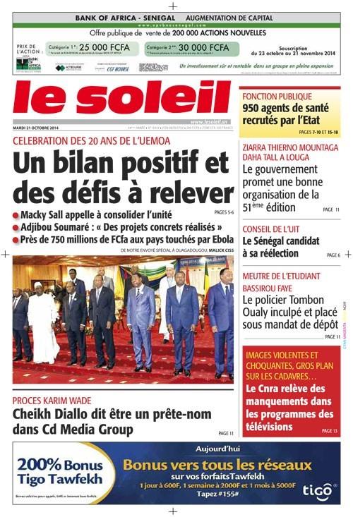 A la Une du Journal Le Soleil du mardi 21 octobre 2014