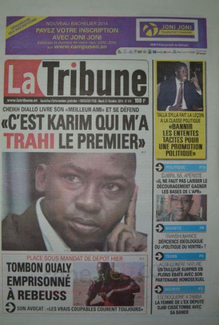 A la Une du Journal La Tribune du mardi 21 octobre 2014