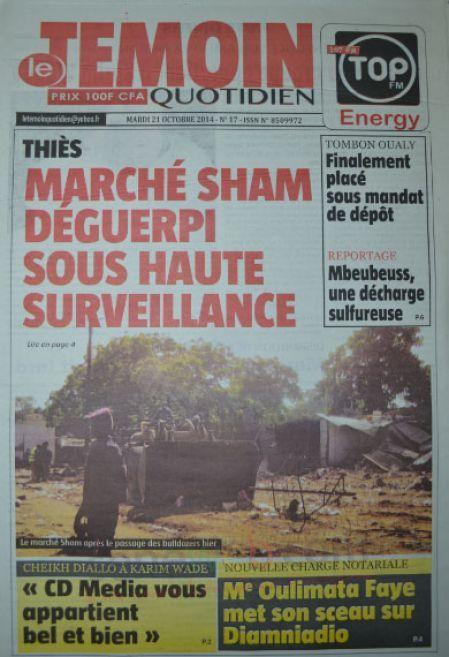 A la Une du Journal Le Témoin du mardi 21 octobre 2014