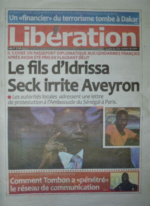 A la Une du Journal Libération du mardi 21 octobre 2014