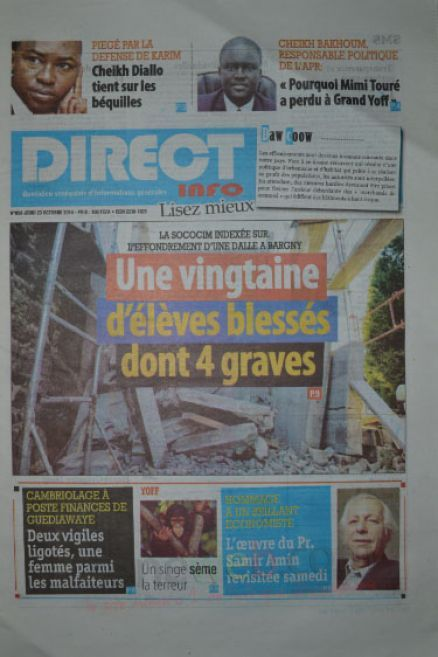 A la Une du Journal Direct Info du jeudi 23 octobre 2014