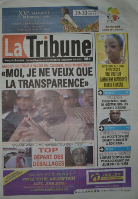 A la Une du Journal La Tribune du jeudi 23 octobre 2014