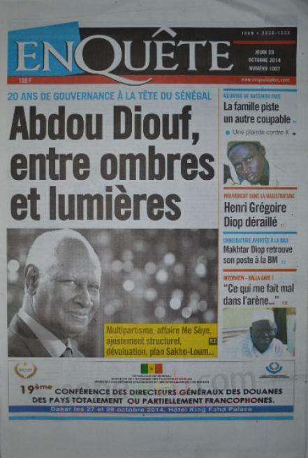 A la Une du Journal EnQuête du jeudi 23 octobre 2014
