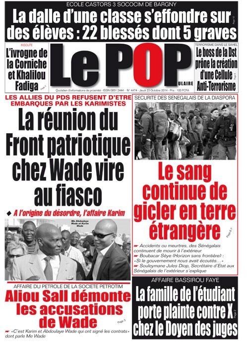 A la Une du Journal Le Populaire du jeudi 23 octobre 2014